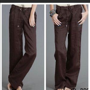 Brown Linen Pants w/ Tie Waist